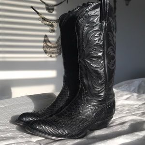 Vintage Tony Lama Snakeskin Cowboy Boots